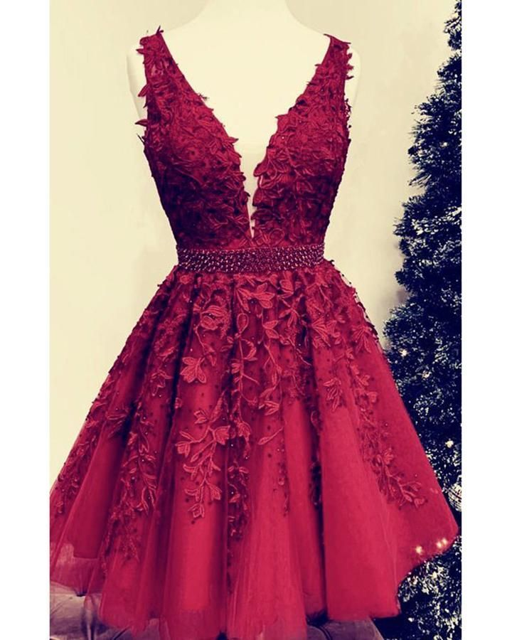 Amazing junior gown dark red lace short prom