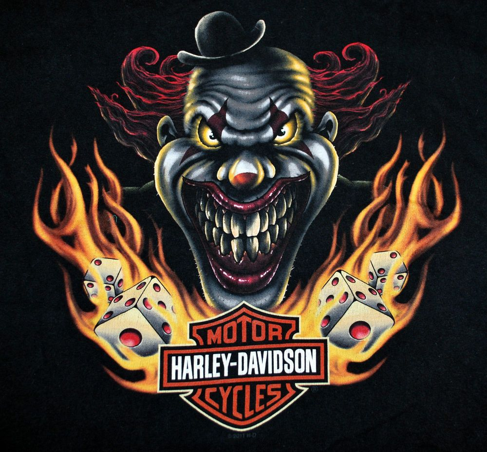 Harley Davidson T Shirt Evil Scary Clown St Louis Mo Gateway Sz M