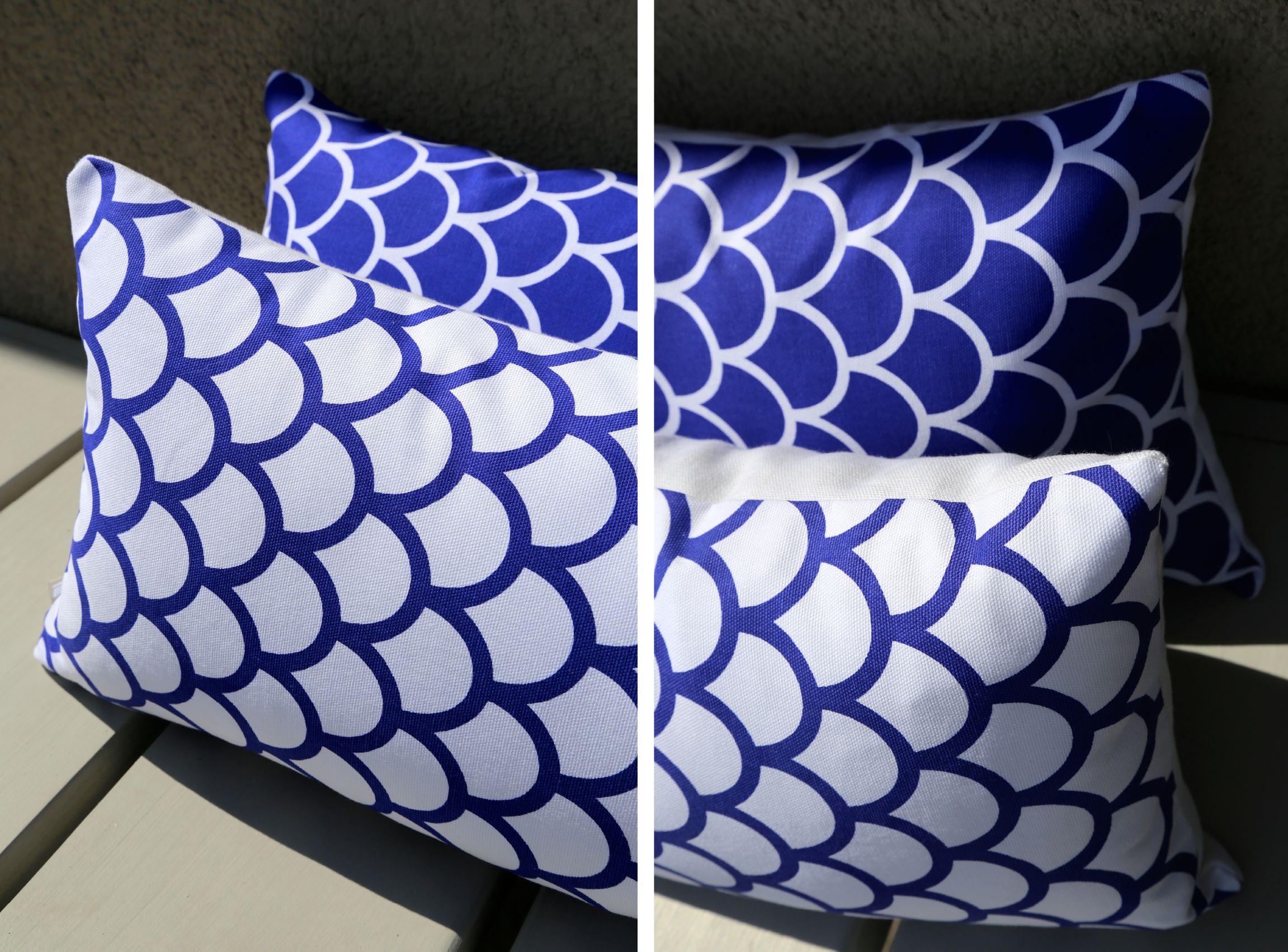 Kussen Wit 12 : Kussens uit kopenhagen in denemarken stof met boogjes wit en blauw