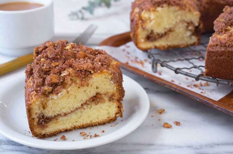Our Favorite Sour Cream Coffeecake Recipe In 2020 Coffee Cake Recipes Food Videos Desserts Healthy Coffee Cake