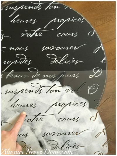 A stencil tutoiral on how to paint a DIY wooden table using the French Poem Craft Stencil from Cutting Edge Stencils. French Poem Craft Stencil from Cutting Edge Stencils. http://www.cuttingedgestencils.com/french-poem-diy-craft-stencil-design.html
