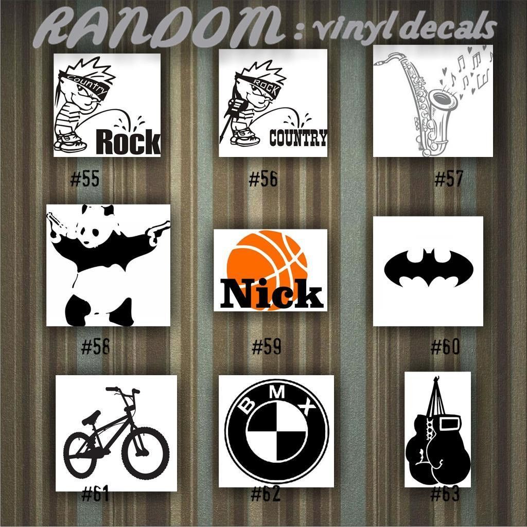 RANDOM Vinyl Decals   55 63   Car Sticker   Custom Vinyl Decal    Personalized