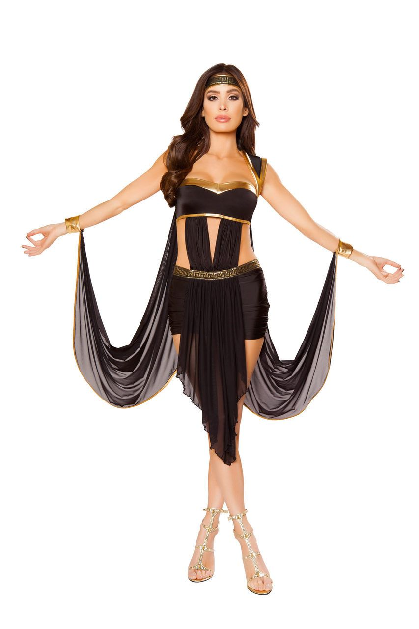 707525d304a3 Sexy Roma Black Gold Midnight Goddess of Love Greek Aphrodite Venus  Halloween Party Costume