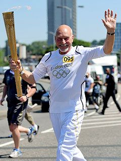 London Olympics torch carried by Patrick Stewart