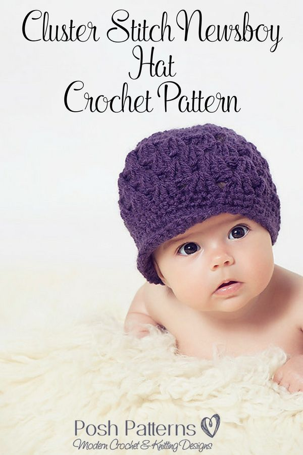 Shell Stitch Newsboy Visor Hat 185 pattern by Posh Patterns | Cute ...