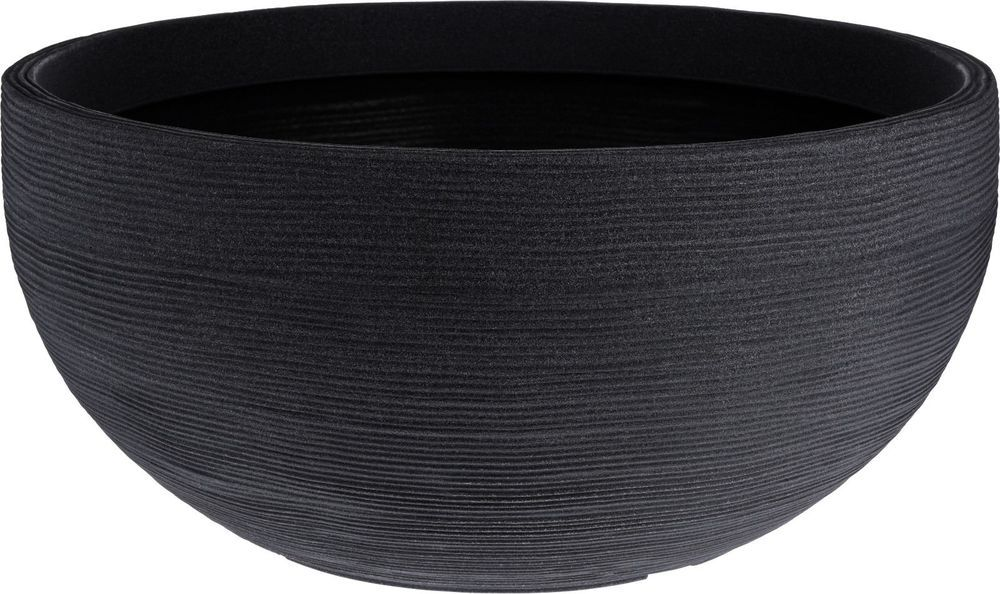 Details About Extra Large Ribbed Charcoal Round Bowl 400 x 300