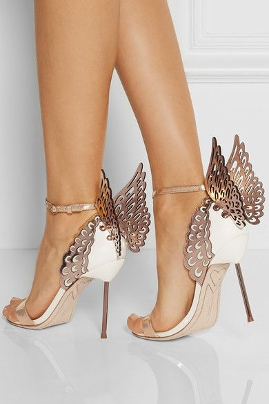 88dc4c5ce White and rose gold leather Heel measures approximately 100mm/ 4 inches  Buckle-fastening ankle strap