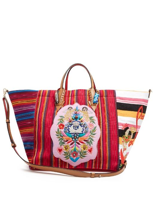 9341e6bedd7 Christian Louboutin Mexicaba crest-embroidered striped tote | my ...