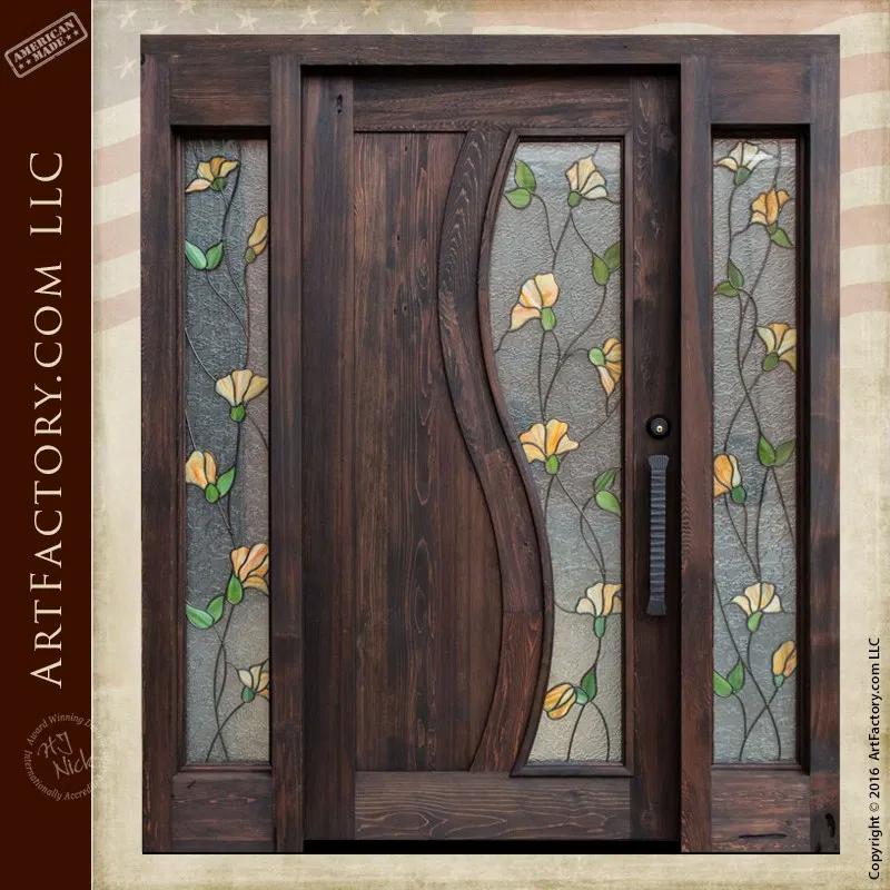 Tulip Stained Glass Door Craftsman Entry Door With Sidelights In 2020 Door Glass Design Wooden Door Design Door Design Interior