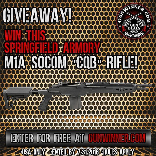 """Springfield Armory M1A SOCOM """"CQB"""" Giveaway.  Click the blue link in our bio to enter.  Enter by 7/31/2016. Free To Enter. USA ONLY. RULES APPLY."""