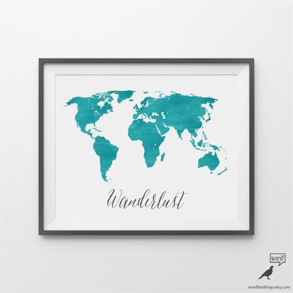 Blue Watercolor World Map Watercolor World Map Wanderlust Map