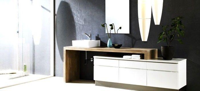modern badkamermeubel met houten werkblad - badkamer en, Badkamer
