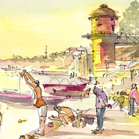 India Sketch Varanasi Morning Light On The River By Sketchaway