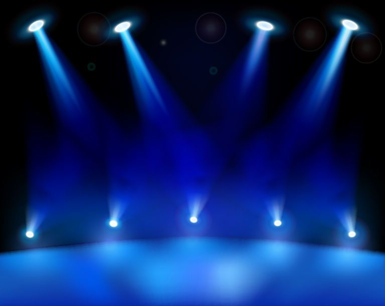 Huge Detailed Blue Realistic Stage Light Background Contains Series Of Bottom And Upper Spot Lights On Dark Backdrop Description From Vectoropenstock