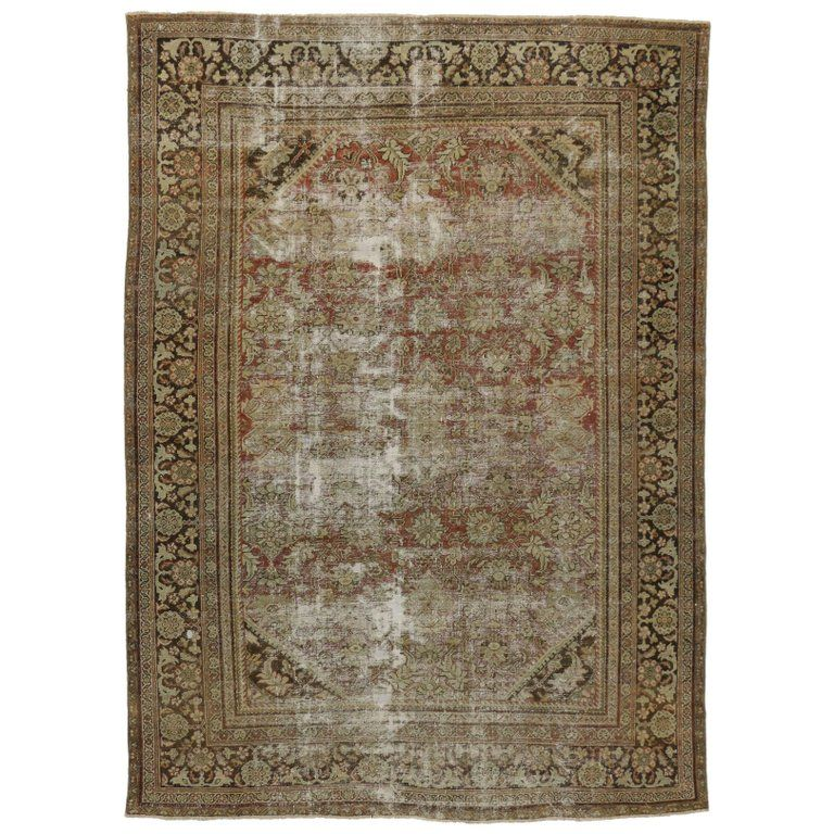 Distressed Antique Persian Mahal Rug With Modern Industrial Style Industrial Style Modern Industrial Industrial Rugs