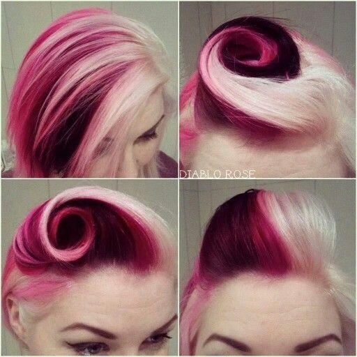 Beautiful red magenta & white blonde hair.                                                                                                                                                                                 More