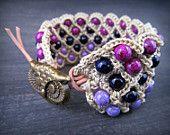Wide Wrist Cuff, Owl Bracelet, Purple bohemian thick bracelet wrap, Boho Hippie Chic jewelry