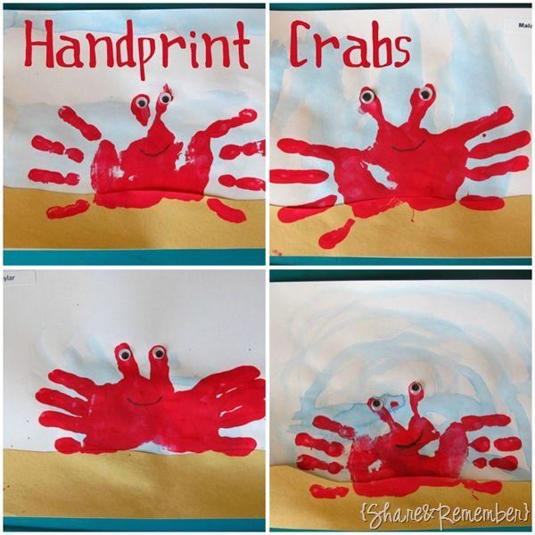 Handprint Crabs Preschool CraftsKids CraftsKindergarten Crafts SummerPreschool