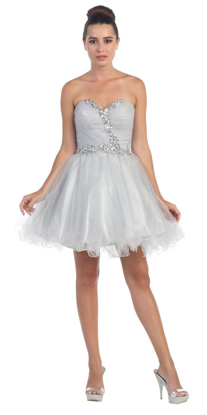 Poofy short homecoming dress off white tulle strapless rhinestones