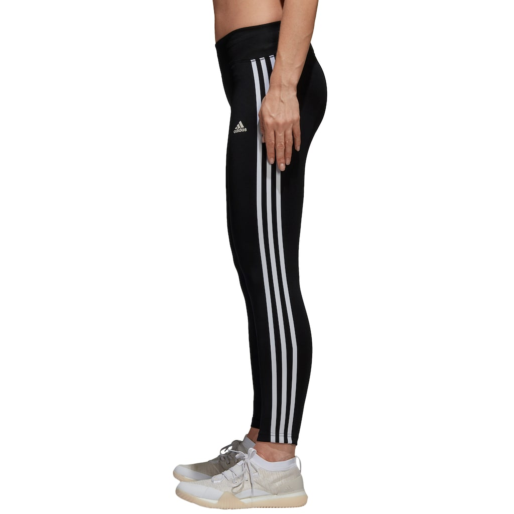 dd77338485f76 Women's Adidas Designed 2 Move Climalite 3-Stripe Midrise Leggings, Black
