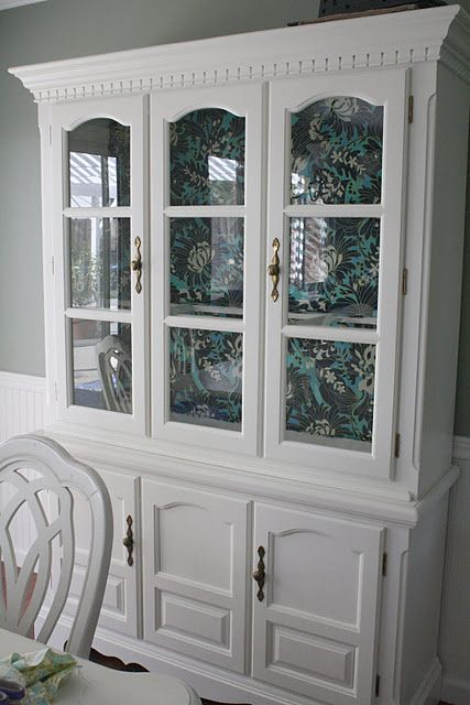 Thrift store painted china cabinet with fabric inside. Love the fabric inside!