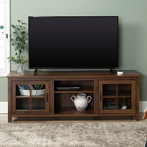 We Furniture Az70csgddw Tv Stand 70 Tv Stand Wood Walnut Furniture Living Room Tv Stand