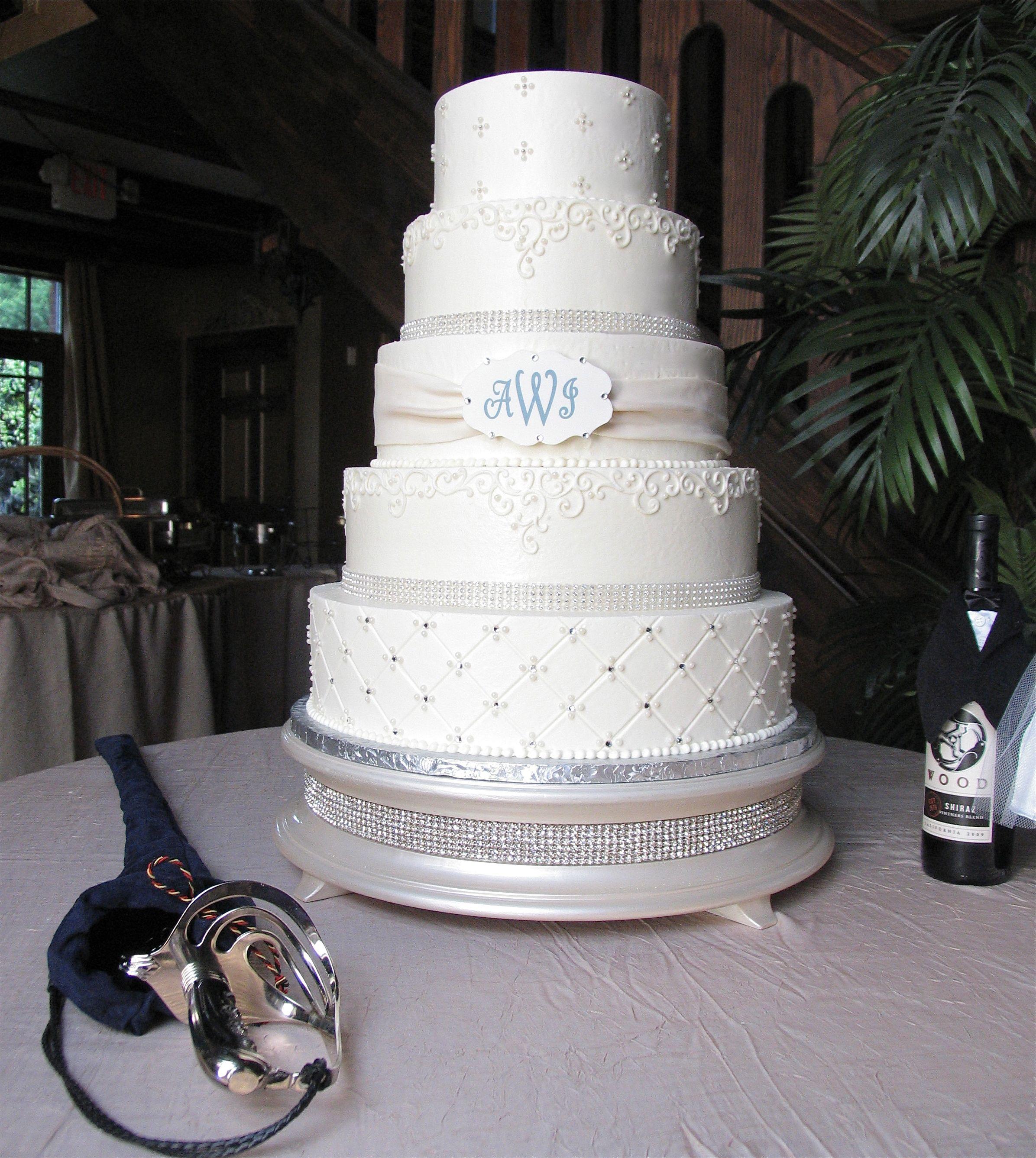 5 Tier buttercream Wedding cake with Edible monogram & Fondant ...