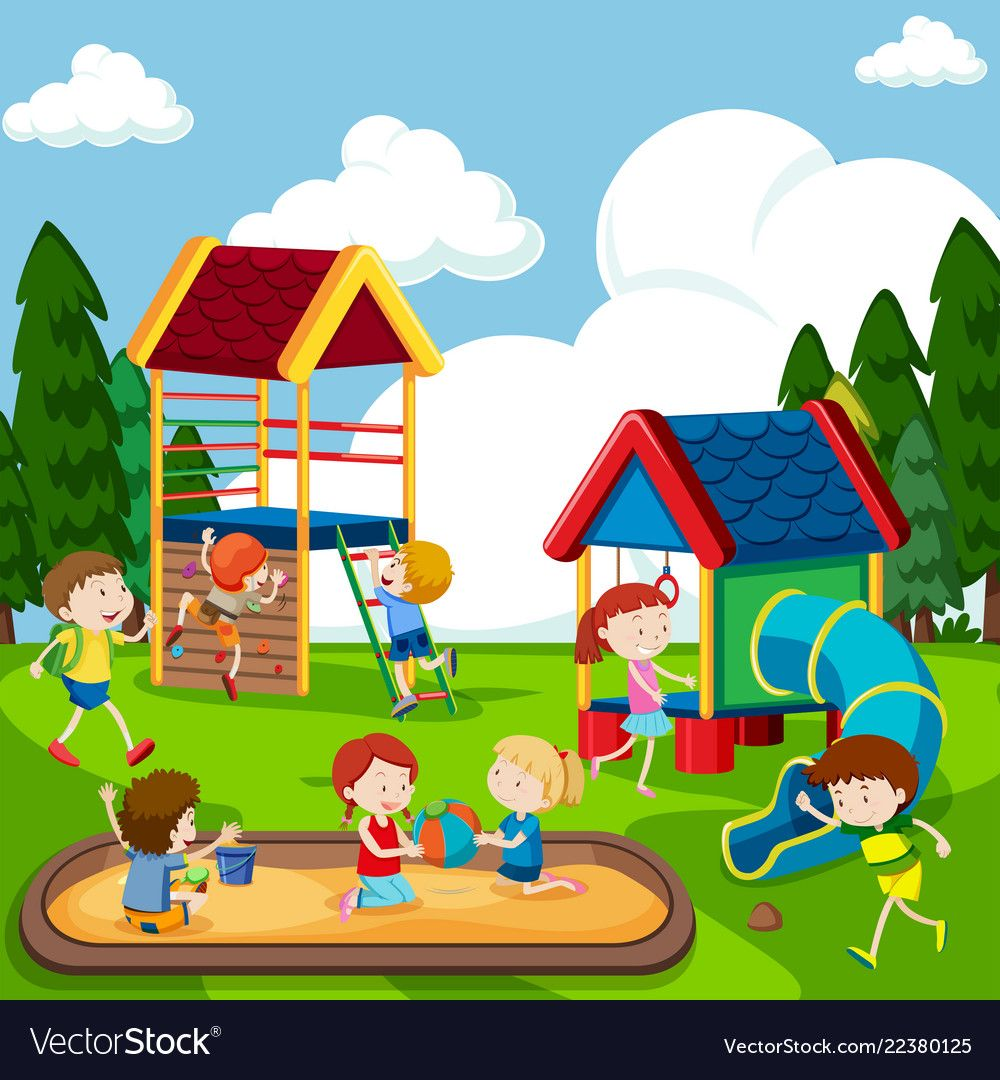 Children Playing On Playground Vector Image On Vectorstock In 2020 Kids Playing Drawing For Kids Rainbow Kids