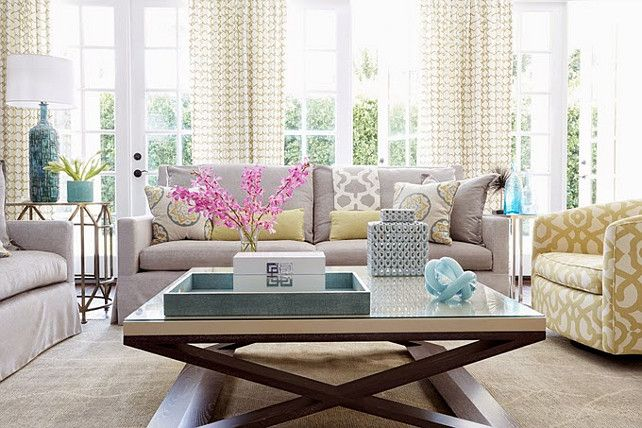 Beautiful Gray Taupe And White Transitional Living Room With Quatrefoil  Pattern Window Panels Acrylic Glass Lamp Gray Painted Modern Cabinet |  Pinterest ...