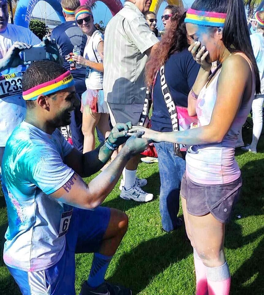 Creative Color Run Marriage Proposal