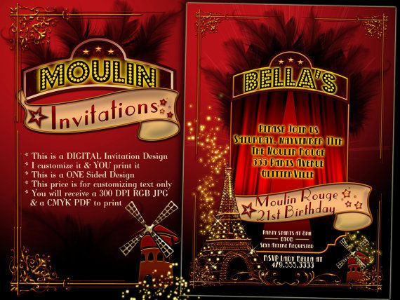 Moulin Rouge Party Invitations Paris Themed by BellaLuElla on Etsy