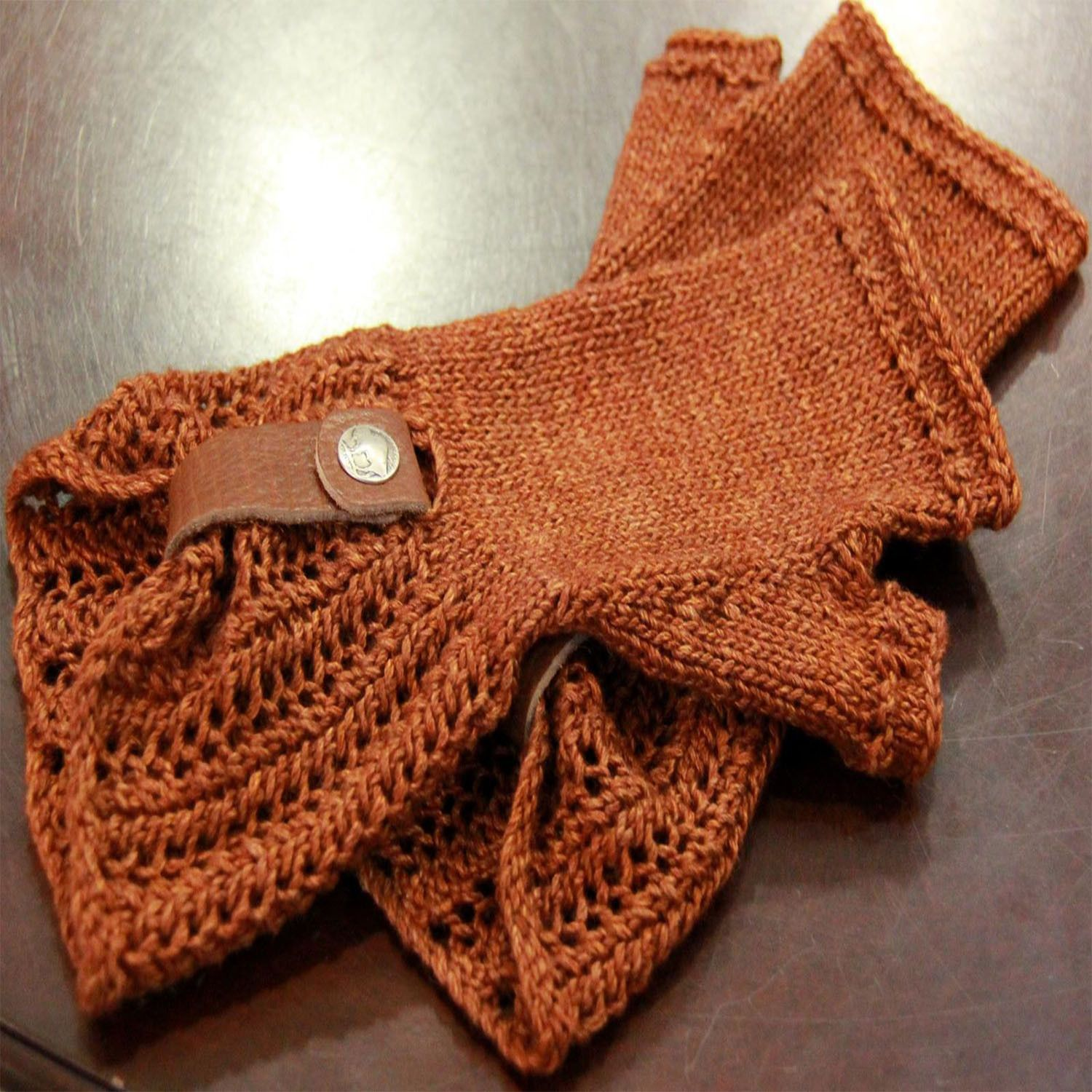 Leather and Lace fingerless Mitts - PDF knitting pattern | Knitting ...