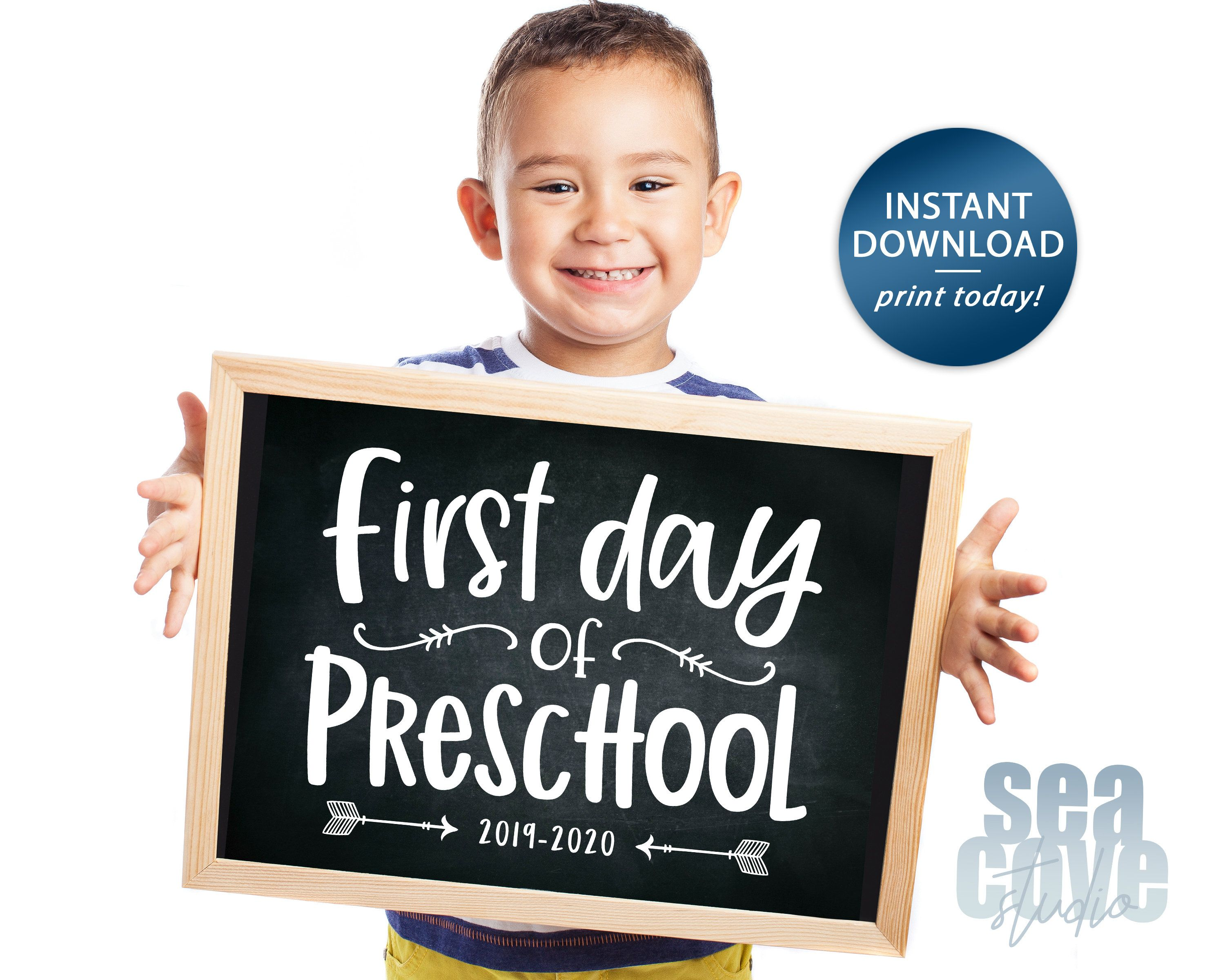 First Day of PreSchool Sign, Back to School Sign, First Day of School Sign, First Day of School Chalkboard Sign, 2019-2020, Instant Download