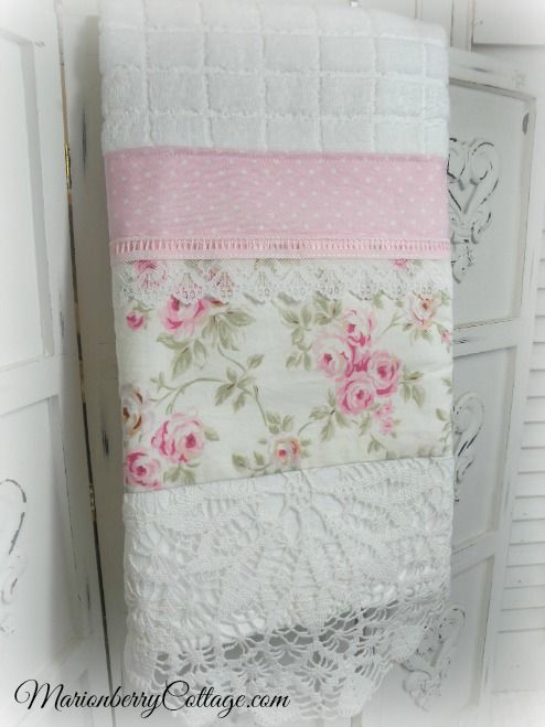 Luxury Display Towel Soft White With Pink Roses And