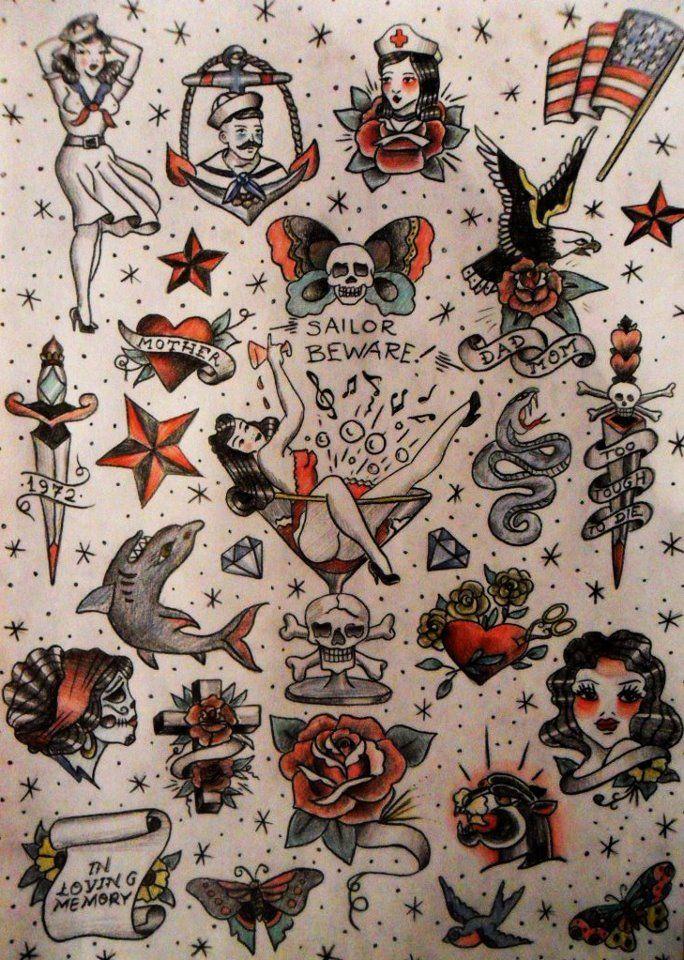 6d4911f47 Traditional Tattoo Designs Sheet   Tattoos   American style tattoo ...