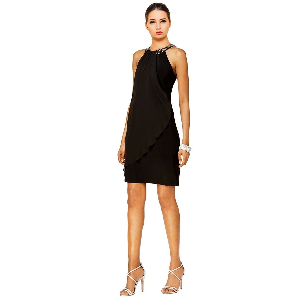 X by Xscape Embellished Halter Cocktail Dress  94c18f4b3