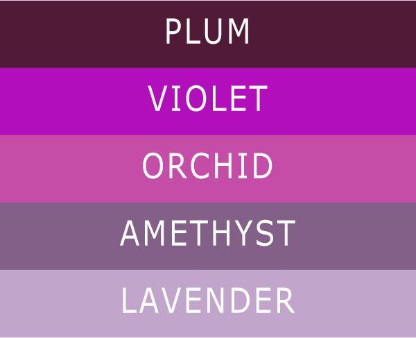 5 Different Shades of Purple Wedding Colors | Pinterest | Purple ...