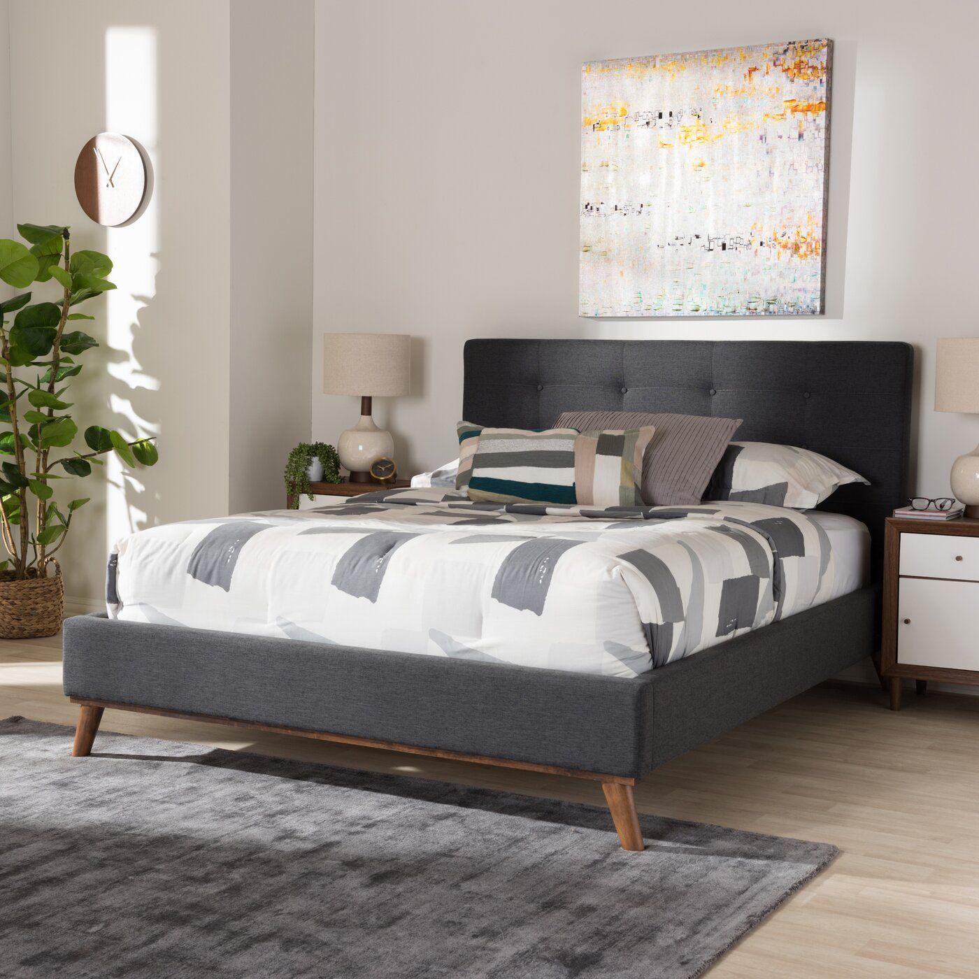 Jeterson Tufted Low Profile Platform Bed Upholstered Platform Bed Modern Platform Bed Mid Century Platform Beds