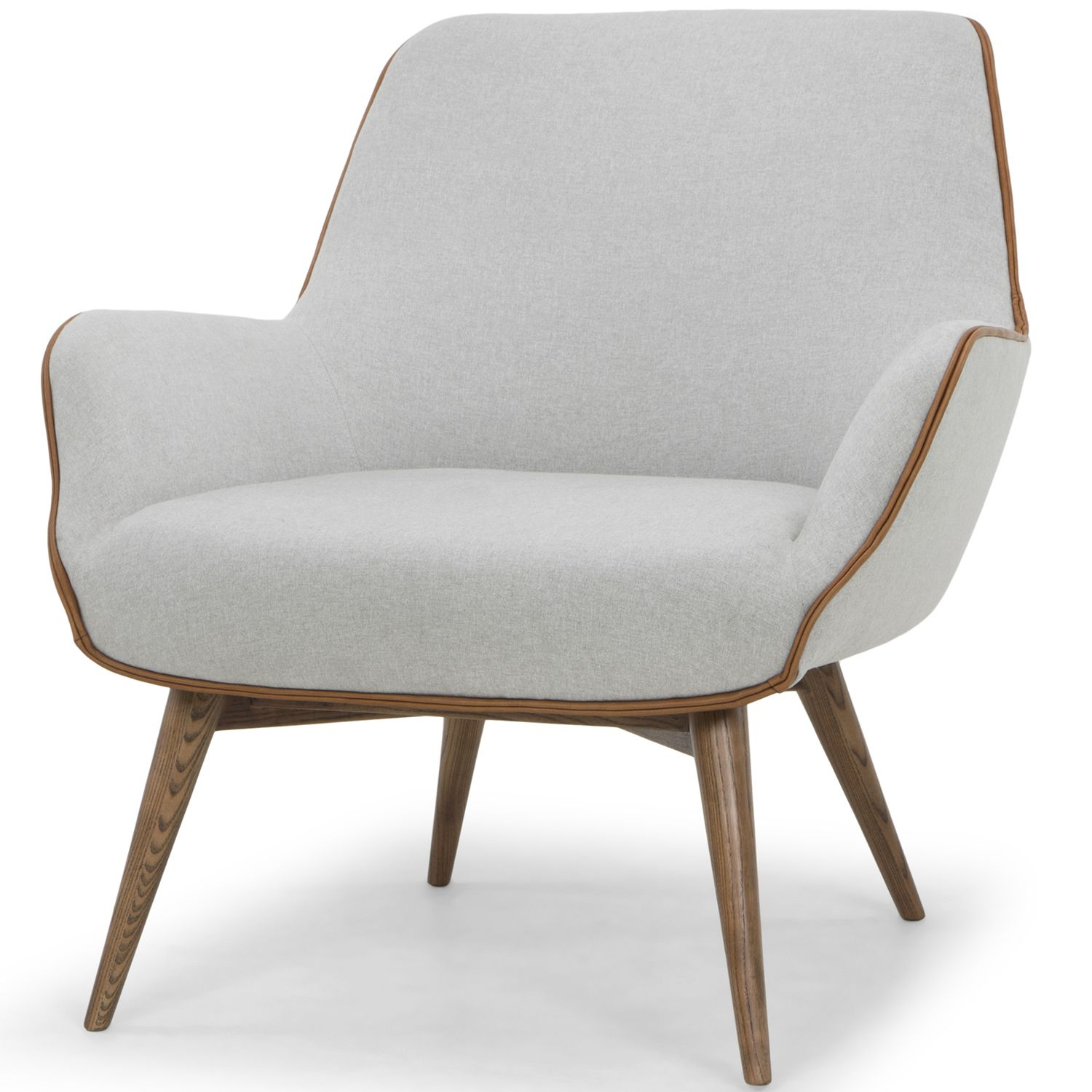 Gretchen Accent Chair In Stone Grey Fabric W Caramel Leather