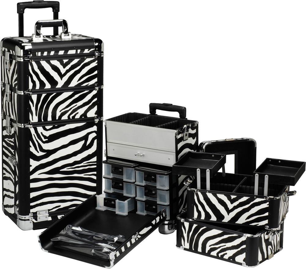 Professional Rolling Makeup Case / Trays Zebra, only
