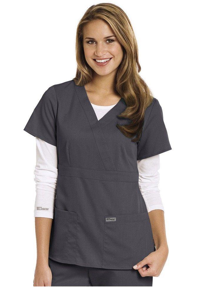 e6101933838 Greys Anatomy 3-pocket mock-wrap scrub top. - Scrubs and Beyond in Steel