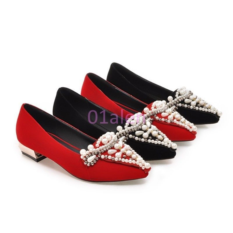 Hot Womens Flat Oxfords Pointy Toe Pearls Loafer Suede Ol Rhinestone Dress Shoes