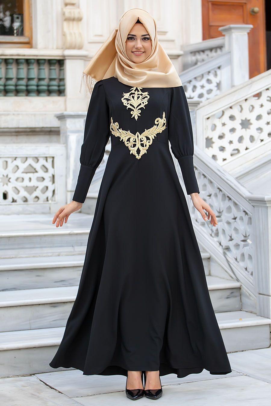 New Kenza New Kenza Siyah Abiye Elbise Tesettur Bayan Giyimde Elbise Ferace Esarp Sal Hasema Ve Pardesu G Aksamustu Giysileri The Dress Musluman Elbisesi