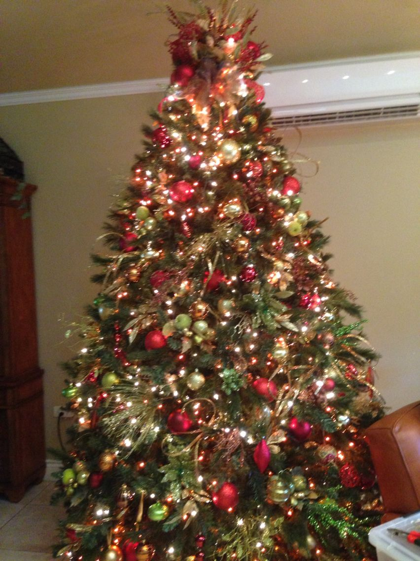 Red Green Gold And Bronze Christmas Tree By Jan Marie Franco Christmas Decorations Green Christmas Tree Gold Christmas Decorations