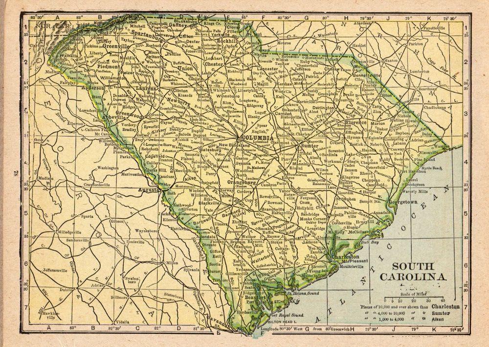 1920 Antique Map of South Carolina Vintage South Carolina ...