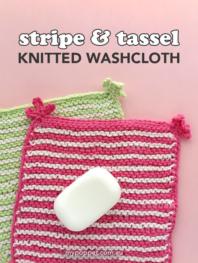 Stripe & Tassel Knitted Washcloth Pattern | Knitted ...