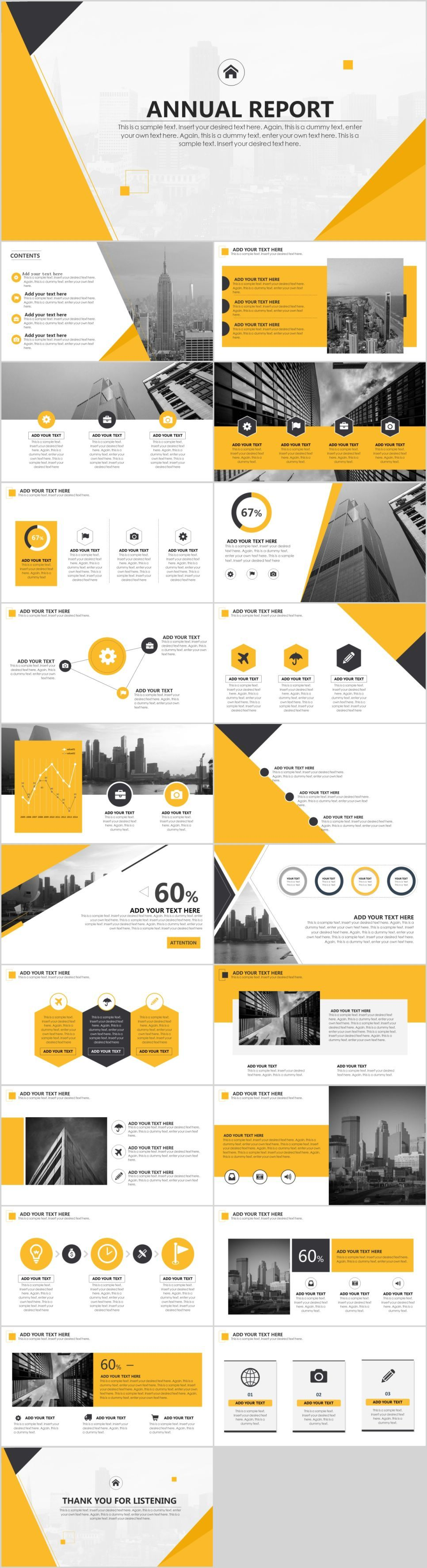 Yellow annual report PowerPoint template