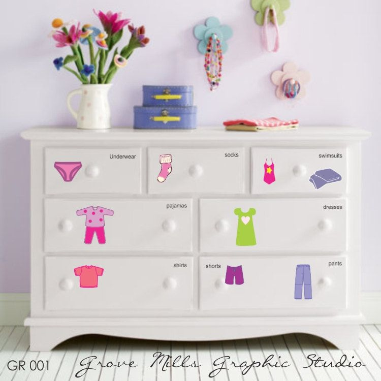 Dresser Clothing Decal Labels Girl S Dresser Labels Girl S