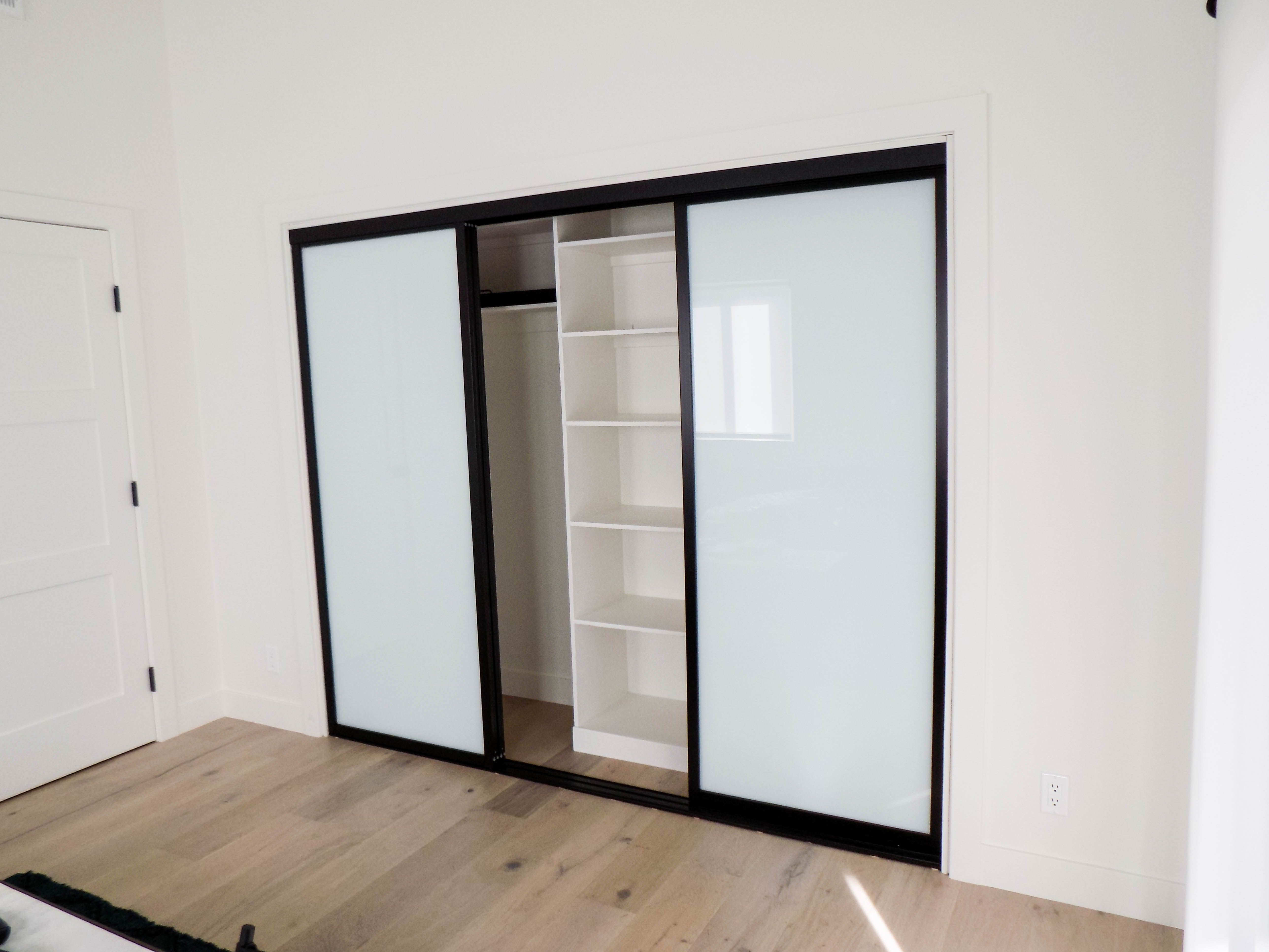 Check Out These 3 Track 3 Panel Closet Doors With Black Frames And Laminated Glass That Our Guys Installed S Closet Doors Sliding Closet Doors White Laminate