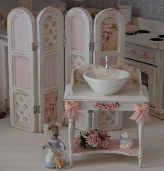 Vanity table for bathroom.  Scale 1 12 by Lolaminiatures on Etsy